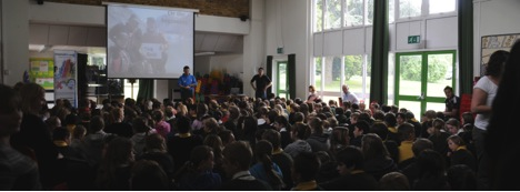 Speaking at a local school
