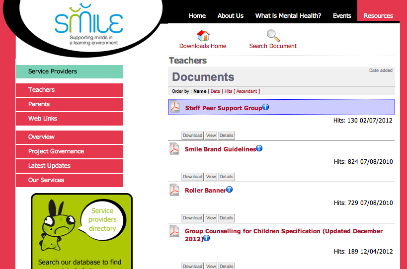 Dedicated Website with downloadable resources