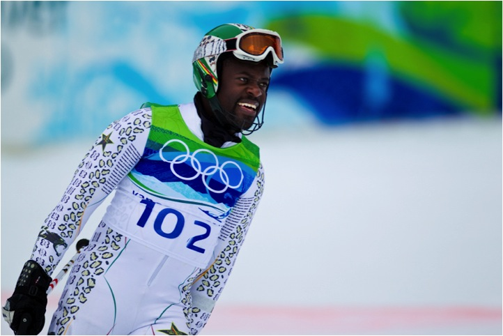 Kwame finishing his second slalom run at Vancouver Winter Olympics 2010